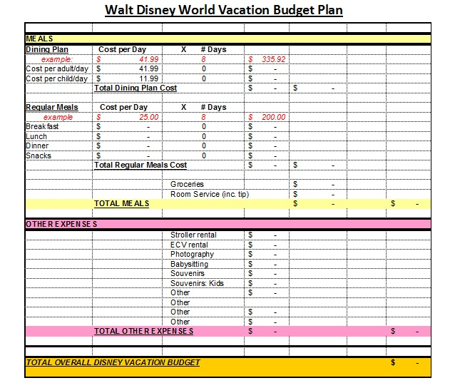 Affordable Disney Vacation Planning Worksheets – Budget Plan Worksheet